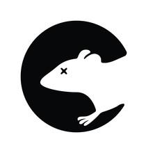 Dead Rat Silhouette Logo. Blac...