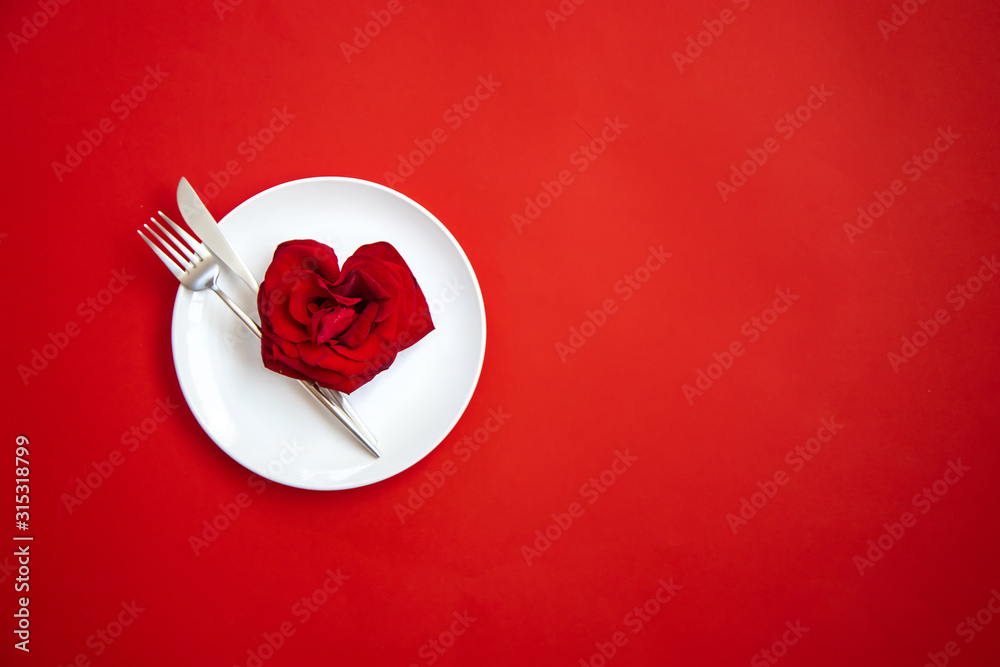 Fototapeta Valentine's day romantic dinner congratulation. Selective focus.