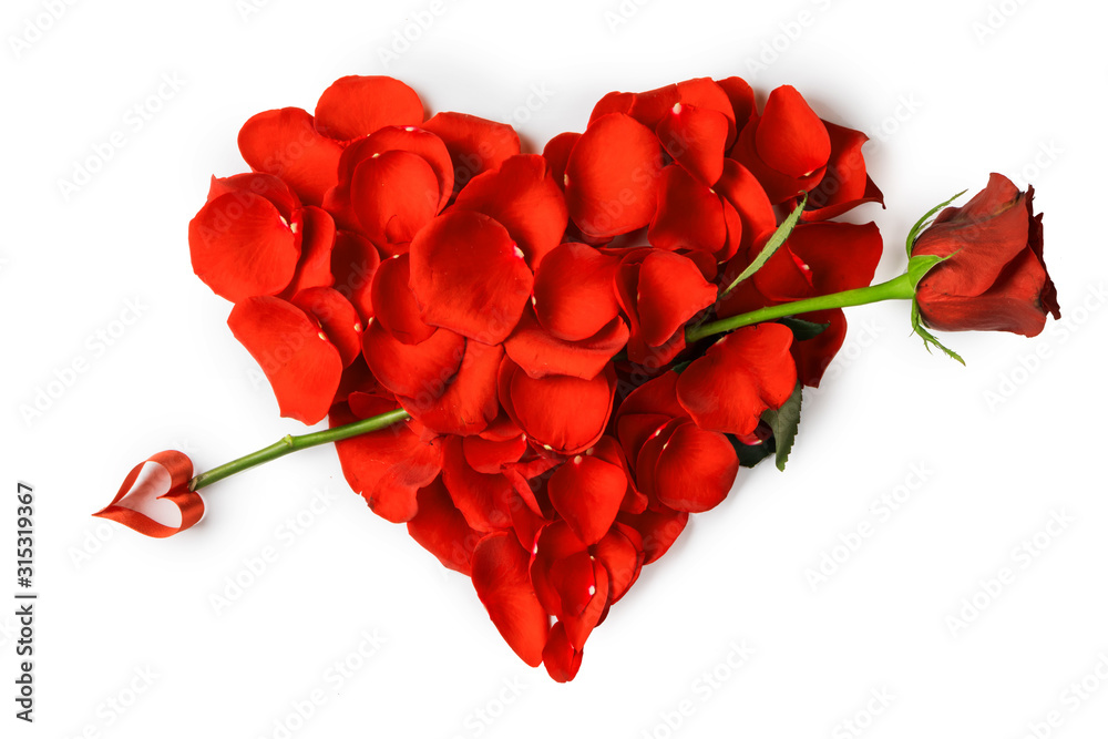 Fototapeta Rose petals heart with arrow