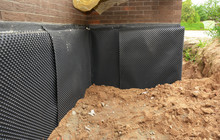 Foundation Foam Insulation With Bitumen Waterproofing, Damp Proofing On The House Foundation Wall