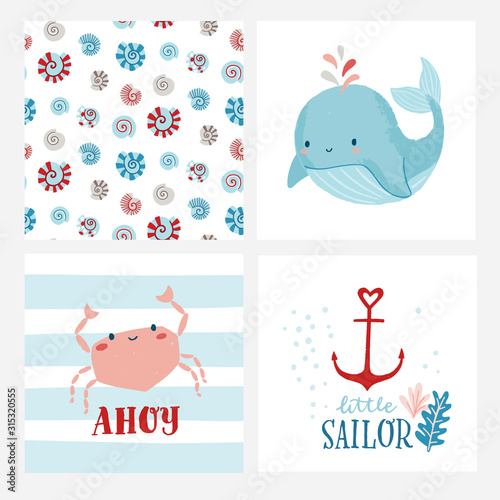 Set of cute cards or posters for nursery, kids room including whale, crab, shell pattern, anchor, phrases ahoy, little sailor Canvas Print