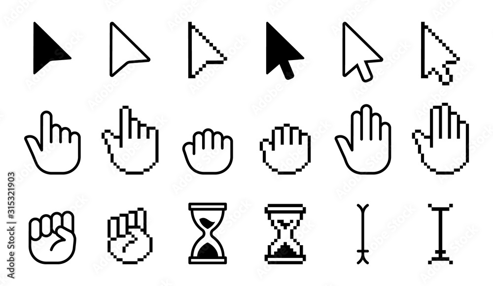 Fototapeta Pointer cursor icons. Computer web arrows mouse cursors and clicking line pointer cursor selecting. Pixel hand, pointer hand, arrow and hourglass logo vector isolated icons set