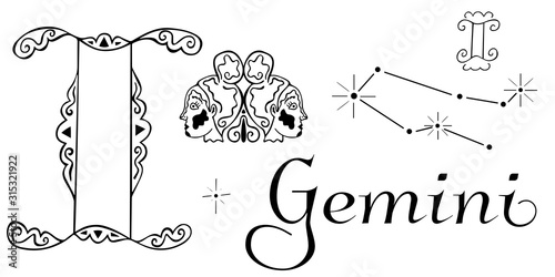 Zodiac set for the sign of Gemini Canvas Print