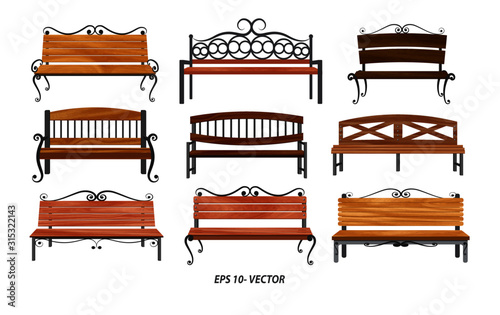 Canvas Print set of realistic bench wood garden or street bench seat or bench cartoon