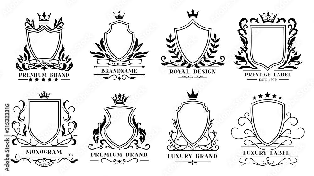 Fototapeta Royal shields badges. Vintage ornamental frames, decorative royal swirl heraldic borders and luxury filigree wedding emblems. Knights shield heraldic decoration isolated vector icons set