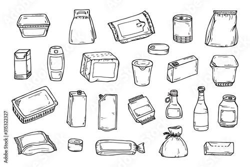 Obraz Product packaging Vector set. Mock Up Template Food and drink Packing. Hand Drawn doodle: cans and bottles, plastic boxes, cardboard and paper package blank objects - fototapety do salonu