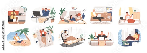 Obraz Freelance people work in comfortable conditions set vector flat illustration. Freelancer character working from home or beach at relaxed pace, convenient workplace. Man and woman self employed concept - fototapety do salonu