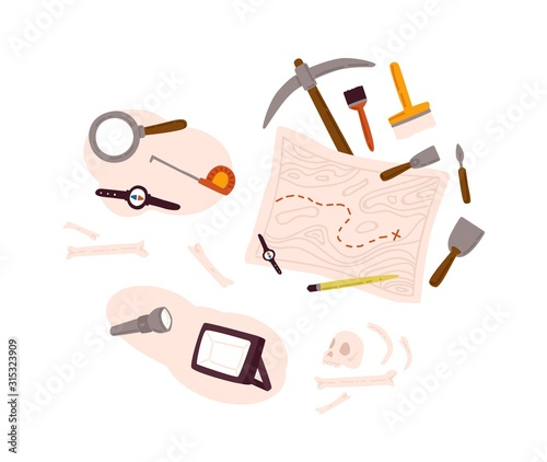 Photo Set of archeology equipment icon with digging out tools, ancient artifacts, map isolated on white background