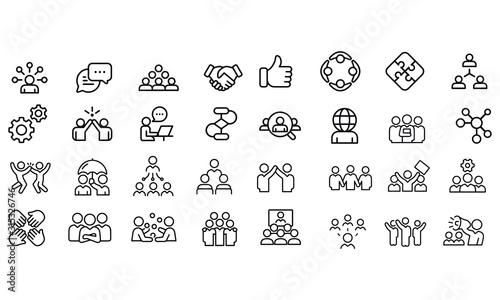 Obraz Teamwork Line Icons Editable Stroke vector design black and white  - fototapety do salonu