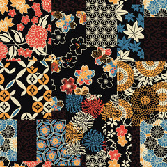 Fototapeta Japoński Traditional Japanese textile fabric patchwork wallpaper abstract floral vector seamless pattern