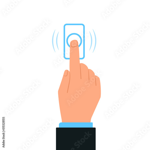 Hand pressing doorbell button icon Canvas-taulu