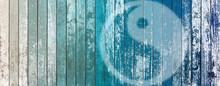Yin Yang On Blue Background