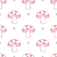 Seamless Pink Glitter Mushroom With Silver Dot Glitter Pattern On White Background
