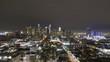 Los Angeles Downtown at Night. California, USA. Aerial Hyperlapse, Timelapse. Drone Flies Sideways