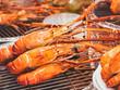Leinwanddruck Bild - Street food Grilled shrimp bbq seafood Food stall Bangkok Thailand