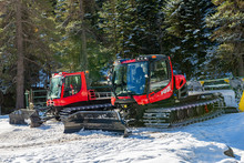 View Of Two Snow Groomer