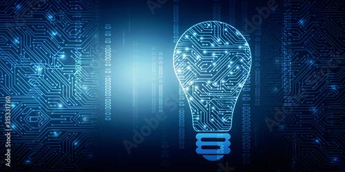 Obraz 2d illustration bulb future technology, innovation background, creative idea concept  - fototapety do salonu