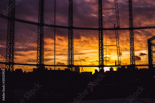 Hackney Gasworks Sunset  4 Canvas Print