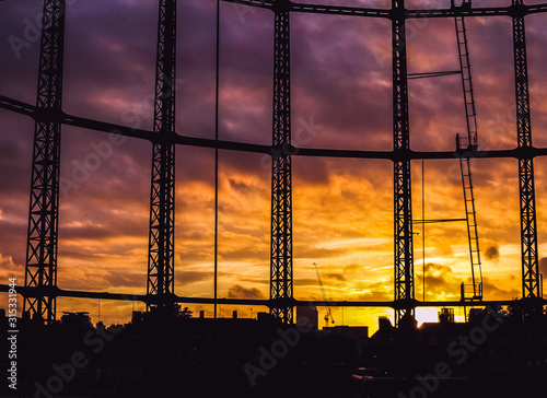 Hackney Gasworks Sunset 2 Canvas-taulu