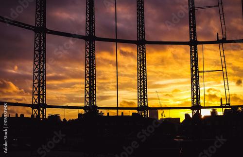 Hackney Gasworks Sunset 1 Canvas Print