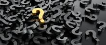 Pile Of Black Question Mark Symbols, On Golden On Top - 3D Illustration