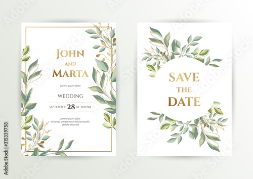 Fototapety, obrazy: Wedding invite. Set of card with leaves and geometrical frame. Design with forest green leaves, eucalyptus, fern & golden geometric frame. Floral Trendy templates for banner, flyer, poster, greeting.