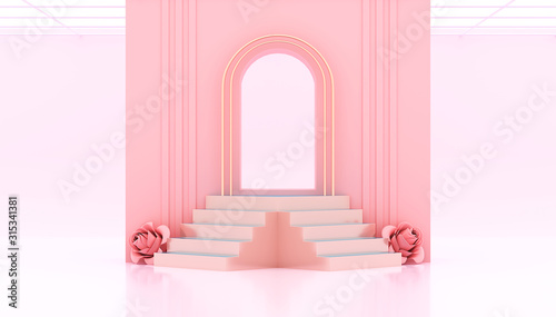 Photo 3d rendering Pink gate and studio Background with podiums Steps and roses for product 3d