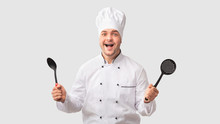 Excited Chef Man Holding Ladle...