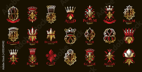 De Lis and crowns vintage heraldic emblems vector big set, antique heraldry symbolic badges and awards collection with lily flower symbol, classic style design elements, family emblems Poster Mural XXL