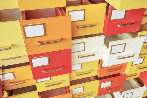 Photo Data collection in colorful drawers - 3D Rendering