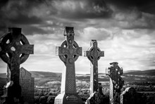 Celtic Crosses In Irish Cemete...