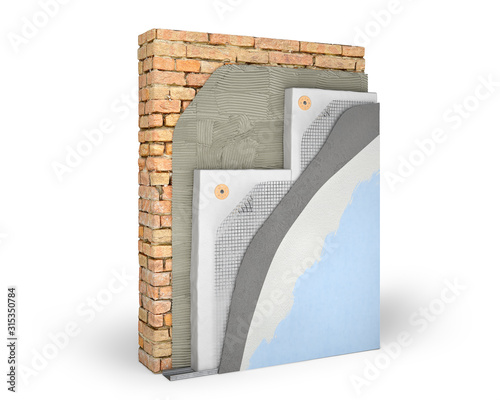 Obraz Layered scheme of exterior wall insulation with polystyrene foam, 3d illustration - fototapety do salonu