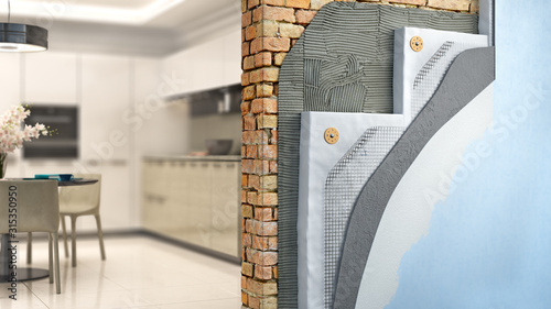Obraz Brickwall thermal insulation by styrofoam with kitchen interior on background, 3d illustration - fototapety do salonu