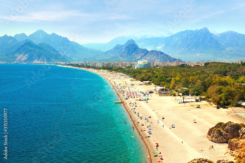 Summer Beach At Antalya Turkey - Travel Background Canvas Print