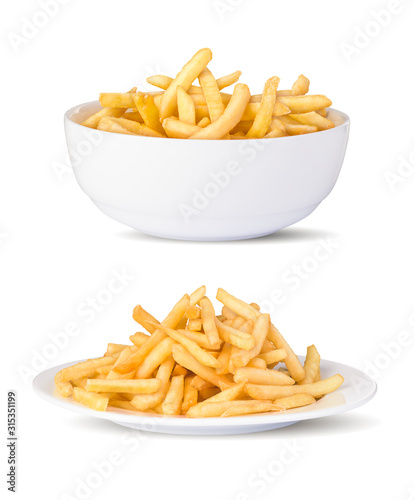 Vászonkép RW Two plates of french fries in a white background