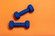 Leinwanddruck Bild - Pair of blue dumbbells Isolated on orange background.