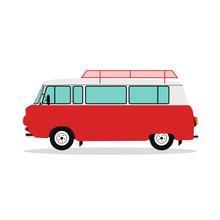 Vintage Van Retro Realistic Camper Bus. EPS 10