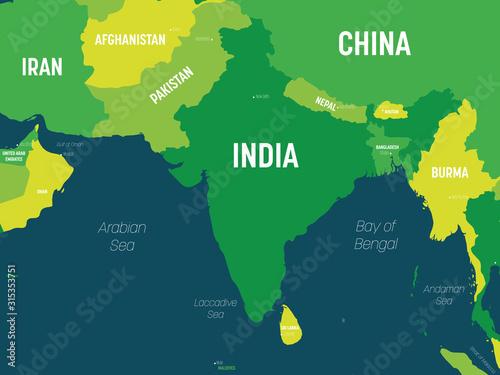 South Asia map - green hue colored on dark background Tapéta, Fotótapéta