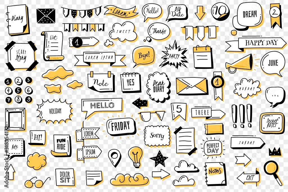Fototapeta Bullet journal doodle banners set