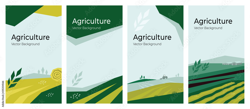 Fototapeta Cover design with agriculture or farming concept. Vector illustrations with farm land, field, spike of wheat. Set of banner backgrounds. Templates with tractor, harvest, hayfield for flyer, poster, ad