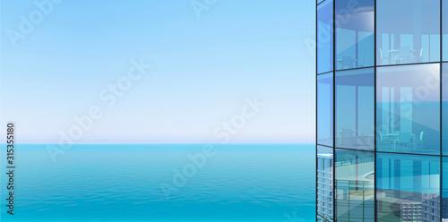 Obraz Facade of a skyscraper and sea view - fototapety do salonu