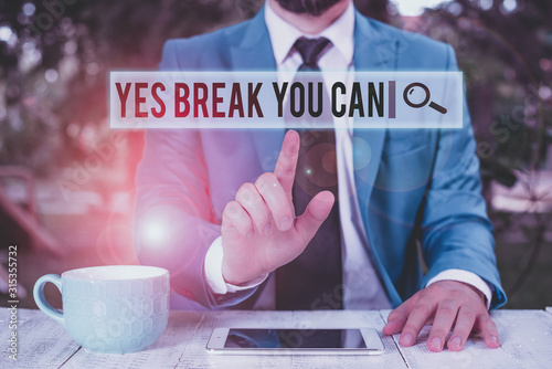 Handwriting text writing Yes break You Can Canvas Print