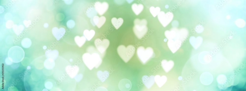 Fototapeta Abstract pastel background with hearts - blurred bokeh lights