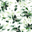 Leinwanddruck Bild - Seamless watercolor pattern with branches.