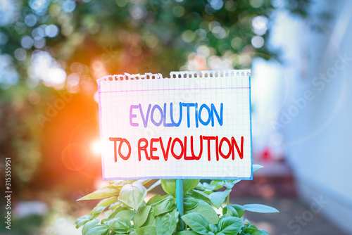 Word writing text Evolution To Revolution Canvas Print