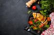 Leinwanddruck Bild - Chicken fillet with salad top view.
