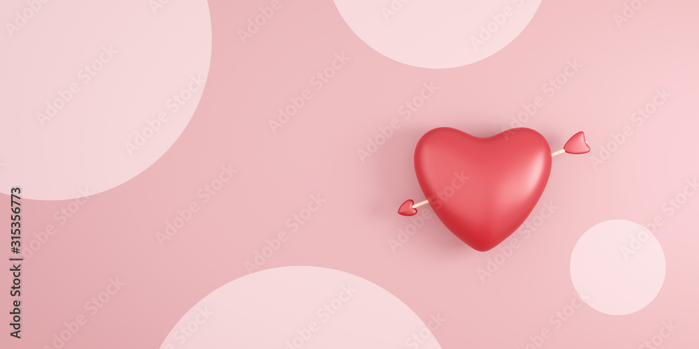 Fototapeta Red heart and cupid arrow on pink polka dots background with valentine day festival. Romantic heart for wedding decoration party style. 3D rendering.