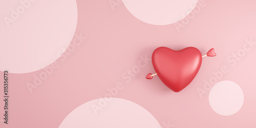 Obraz Red heart and cupid arrow on pink polka dots background with valentine day festival. Romantic heart for wedding decoration party style. 3D rendering. - fototapety do salonu