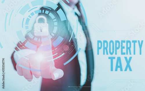 Text sign showing Property Tax Wallpaper Mural
