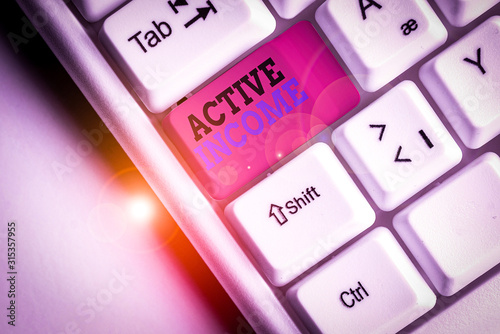 Fototapeta Word writing text Active Income. Business photo showcasing Royalties Salaries Pensions Financial Investments Tips White pc keyboard with empty note paper above white background key copy space obraz